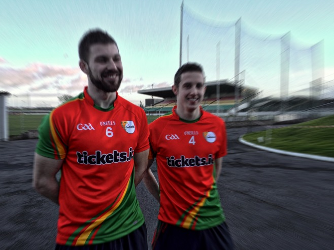 Daniel St Ledger and Alan Corcoran show off the new county jersey