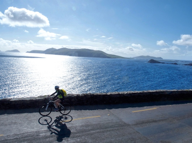 Mary cycling past the Blaskets