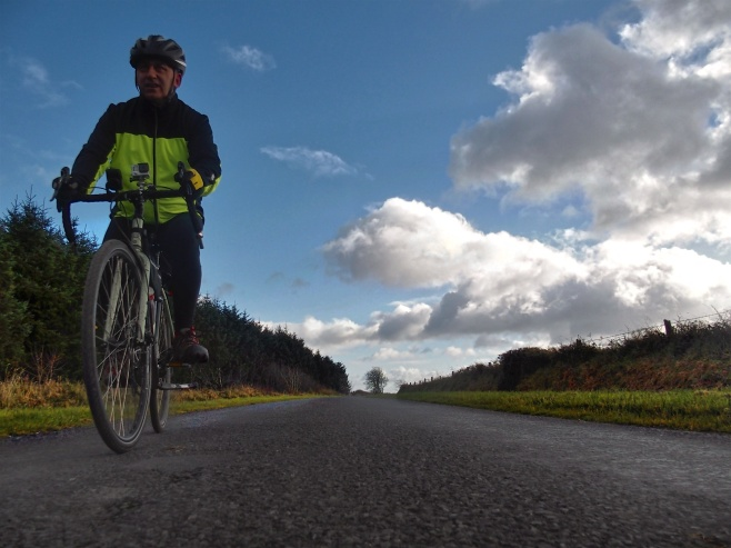 Cycling down from Wolfhill towards Ballyroan, County Laois